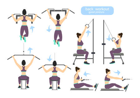 Back Workout Set On White Background Exercises For Men Hard
