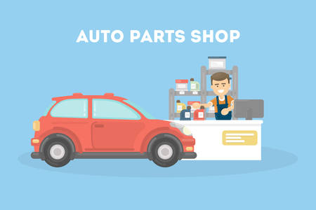 Auto parts shop for vehicle transport. Repairing cars. Service.