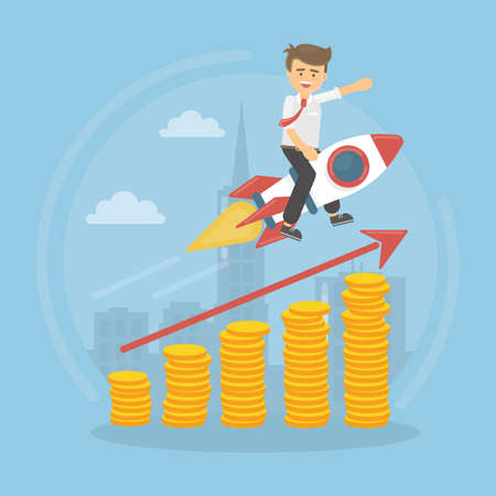 Businessman on the rocket flying to success. Stairs from coins. Illustration