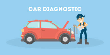 Car diagnostic in service center. Repairman checks the cars parts and engine.
