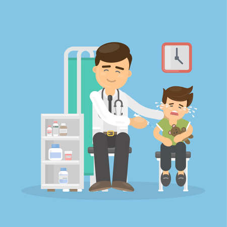 Doctor vaccinates crying boy. Healthcare for children. Pediatrician in the cabinet.