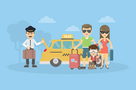 Taxi for family. People on the vacation. Summer time. Illustration