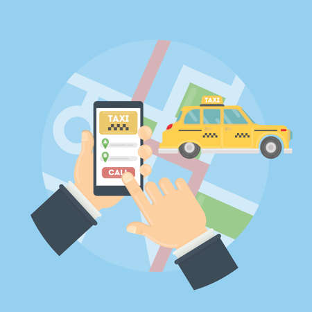 App for taxi. Man holds hand with smarthone. Application for calling taxi. Yellow car on the city map.