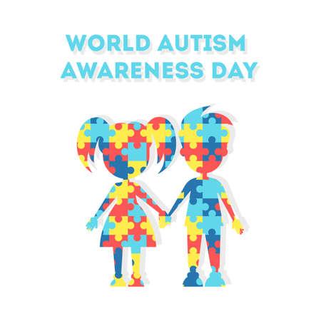 세계 자폐증 인식의 날. 자폐증 및 기타 질환 환자를위한 휴가 또는 행사. 남자 아이와 여자 아이.