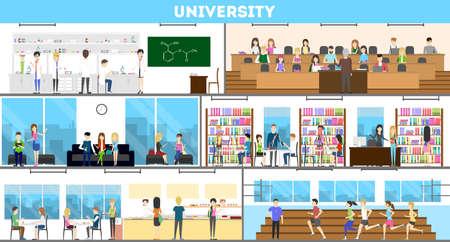 Set interno universitario. Campus e classe e laboratorio.