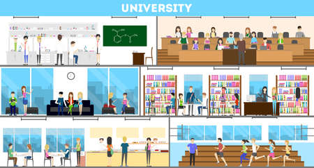 Universiteits interieur set. Campus en klaslokaal en laboratorium.