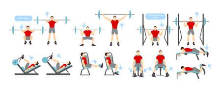 Legs workout set on white background. Exercises for men. Hard training.