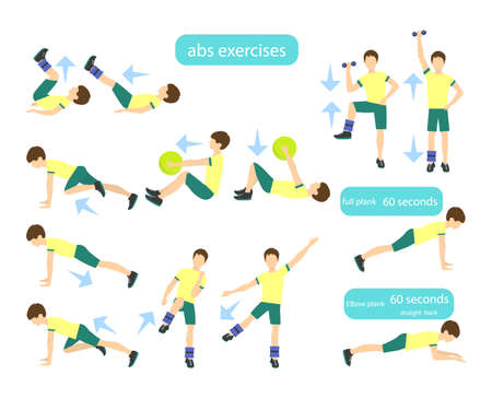 bicep curls: Arms workout set on white background. Exercises for boys. Healthcare for children. Illustration