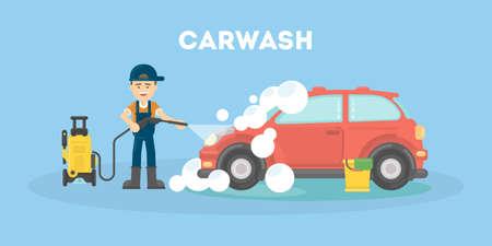 Service de lavage de voiture. L'homme drôle en uniforme lave la voiture rouge avec de l'eau et du savon. Banque d'images - 74228825