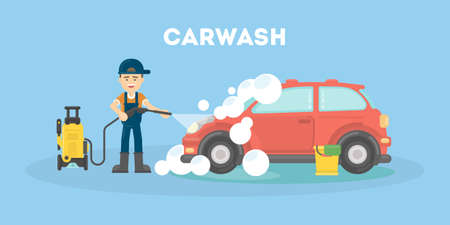 Car washing service. Funny man in uniform washes red car with soap and water. Illustration