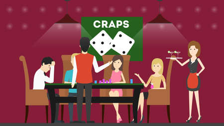 Playing craps in casino. People sit in the casino at the playing table and play craps.