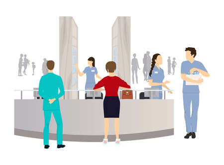 Reception in the clinic. Patient and doctors and nurses. Illustration