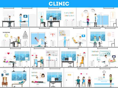 病院内装セット。出生前、手術、研究室などとして治療のすべての種類。