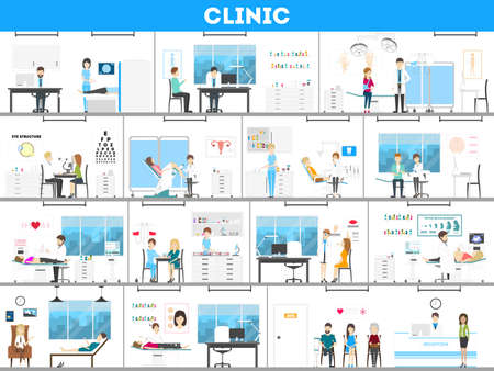 Zestaw wnętrz szpitala. Wszelkiego rodzaju zabiegi jak prenatalna, chirurgiczna, laboratoryjna i nie tylko.