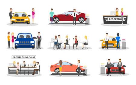 Automobile showroom set on white background. Cars, salesmen and visitors. Illustration