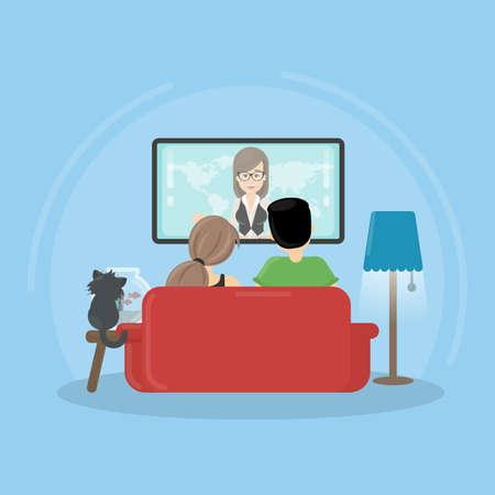Ver la televisión en casa. Hombre, mujer y gato