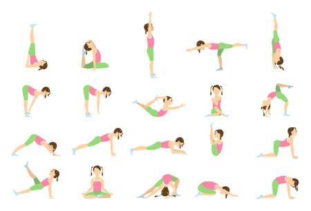 Yoga para niños. Aislado poses y asanas para los niños sobre fondo blanco. Ilustración de vector