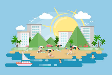 city beach vector illustration. Sun sea boat and people