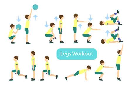 bicep curls: Legs workout set on white background. Exercises for boy. Healthcare for children. Illustration