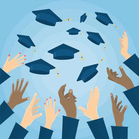 교육 학생 모자 공기입니다. 평면 디자인, 벡터 일러스트 레이 션입니다.