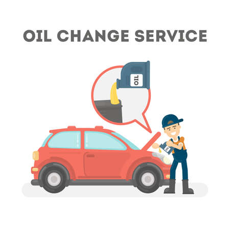 Car mechanic in uniform change oil at car service station. vector illustration