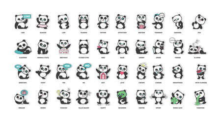 Lindo panda, colección de pegatinas, en diferentes poses, diferentes estados de ánimo ilustración vectorial
