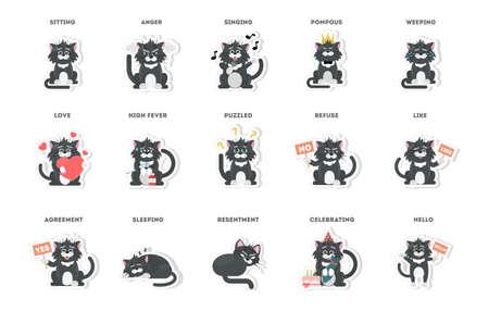 simpatico gatto, collezione di adesivi in ??diverse pose, diversi stati d'animo. illustrazione vettoriale.