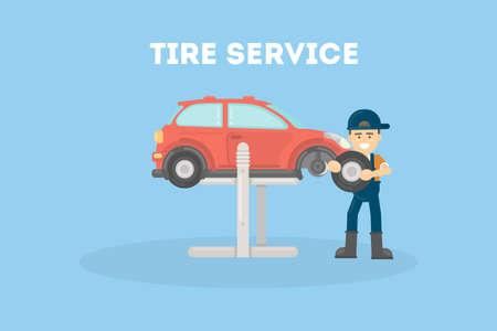 Tire service flat designe vector illustration on blue baackground.