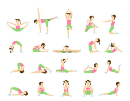 Yoga for kids. Isolated poses and asanas for children on white background.