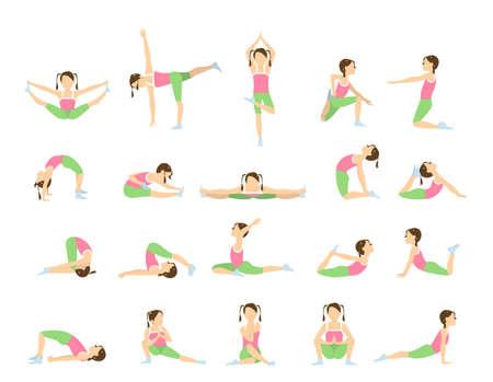 Yoga para niños. Aislado poses y asanas para los niños sobre fondo blanco.