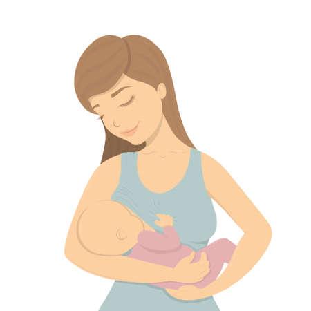 Schöne Mutter, die ihr Babykind still hält, das ihn in ihren fürsorglichen Händen hält. Cartoon Laktation Vektor-Illustration.