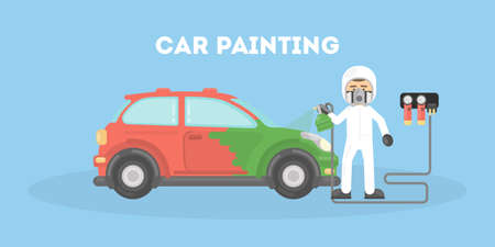 Specialist spray painting auto body at car collision repair shop. Flat style vector illustration isolated on white background. 矢量图像