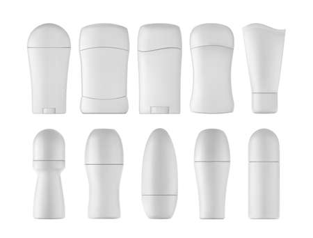 Déodorant réaliste sur illustration vectorielle 3d de fond blanc