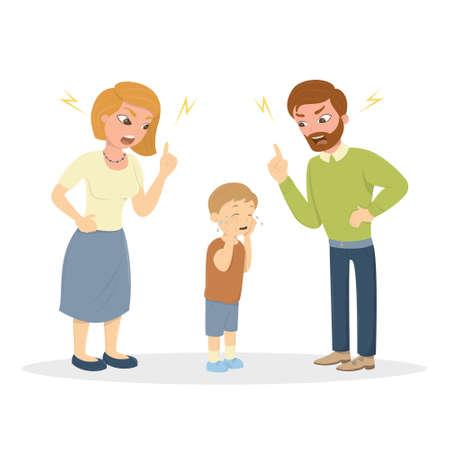 Ouders maken misbruik van de jongen. Angru mama en papa schreeuwen tegen een klein bang jochie. Tekens op witte achtergrond. Misbruik van kinderen.