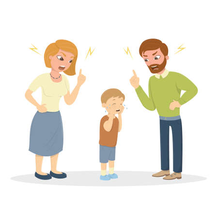 Parents abuse the boy. Angru mom and dad yell at little scared kid. Characters on white background. Childrens abusing.