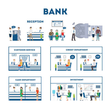 withdraw: Bank interior set with visitors and workers. Waiting room, safe, customer service and cash department. Isolated illustartions on white background.