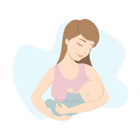 Woman feeds baby with breast milk. Healthy lactation and motherhood.
