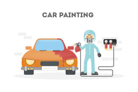 Car painting service. Man in protection uniform paints the car with spray gun.