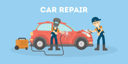 damaged: Car repair service. People in uniform repair the broken car.