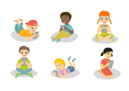 Children with computers. Isolated cartoon kids play with tablets on white background.