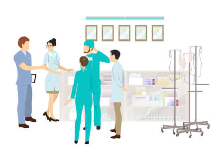 Oficina médica en el hospital. Los doctores preparan la medicina y el equipo de la infusión. Ilustración de vector