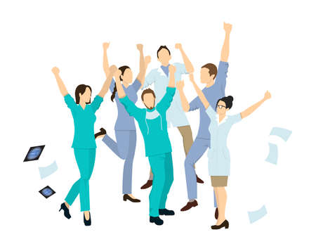 Doctors jump in joy. Isolated characters on white background.