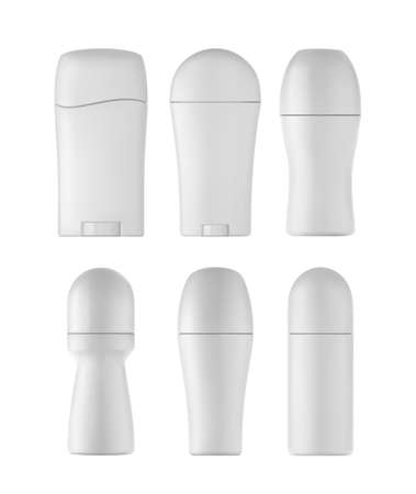 Deodorant bottles set. Isolated roll bottles on white background.
