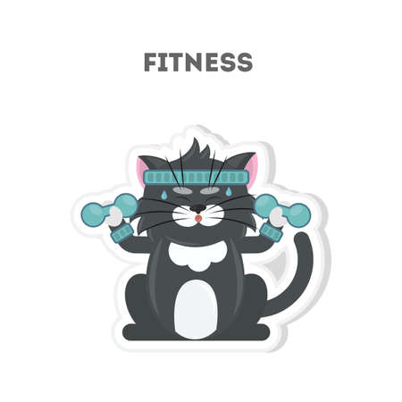 bicep curls: Cat does fitness. Isolated cartoon sticker. Barbell