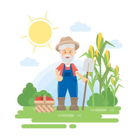 Granjero con la cosecha. Paisaje verde con maíz y canasta con verduras. Viejo hombre con pelo gris y barba.