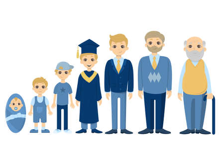 Cycle of life for men. From baby to senior. All stages of maturing. Illustration