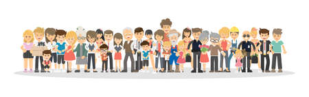 People on white background. Concept of big family, network community.  イラスト・ベクター素材
