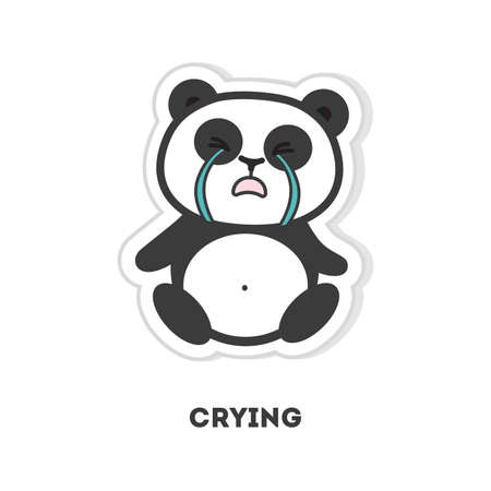 Isolated crying panda sits on white background. Illustration