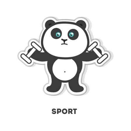 bicep curls: Panda does sport. Isolated cartoon sticker. Barbell Illustration