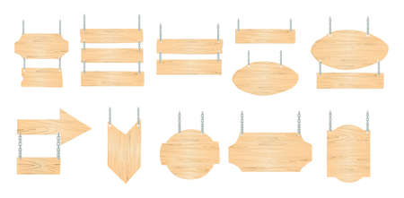 Wooden pointers set on white background. Signposts, banners and more.